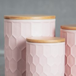 relish decor tupelo honeycomb canisters containers matte blush detail