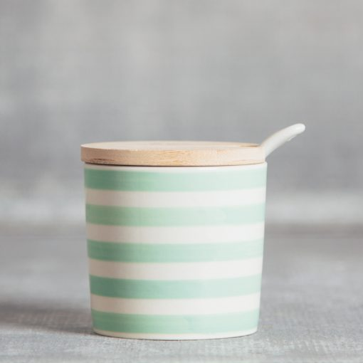 Susie Q Canister bamboo lid spoon mint stripe