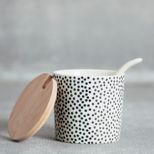 Susie Q Canister bamboo lid spoon black spots dots