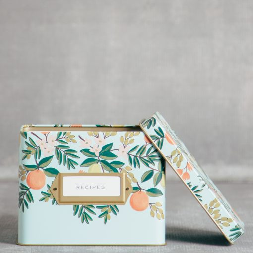 rifle paper company relish decor citrus floral recipe box detail