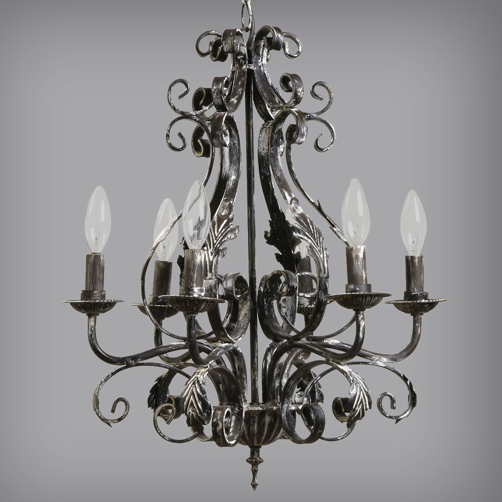 Iron Metal Scroll Chandelier Industrial Light Relish Decor