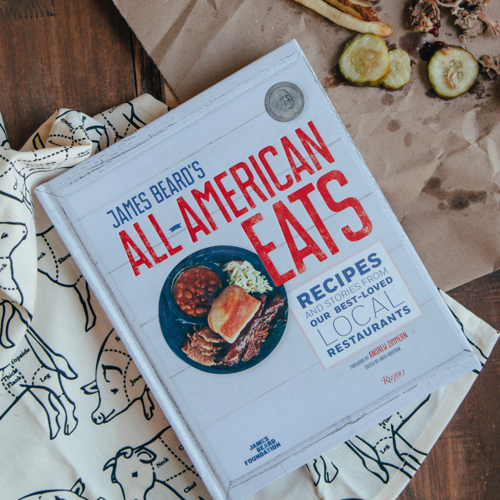 James Beard's All-American Eats Cookbook and Prime Cuts Dishtowel Relish Decor