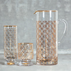 Jet Setter Gold Glassware Collection Vintage Style Rosanna Relish Decor
