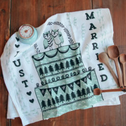 Just Married Owl Tea Towel Mint Kitchen Timer Relish Decor