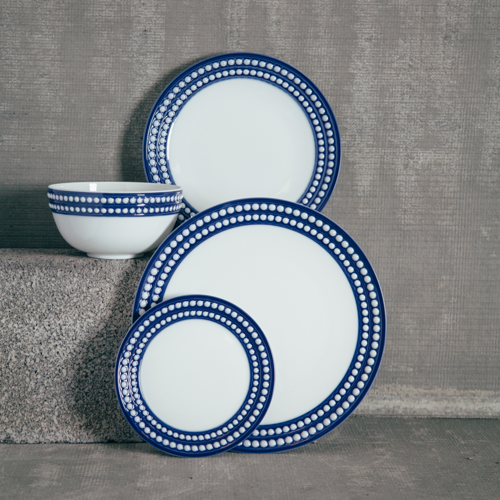 LObjet France Blue Perlee Dinnerware Set Relish Decor