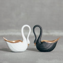 L'Objet France Swan Salt Cellars Black and White with Spoons Relish Decor