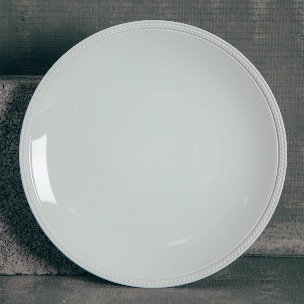 LObjet Soie Tressee Dinner Plate White Fine China Relish Decor