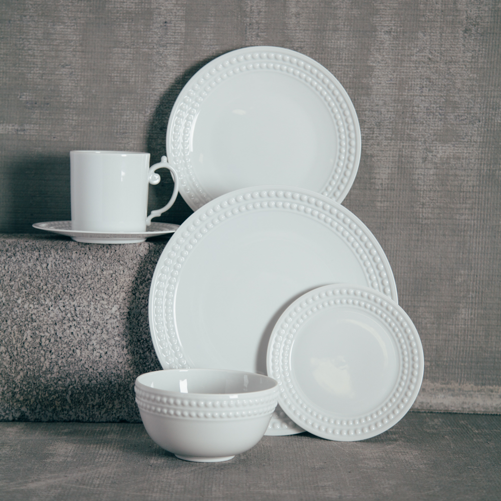 LObjet White Perlee China Dinnerware Collection Relish Decor