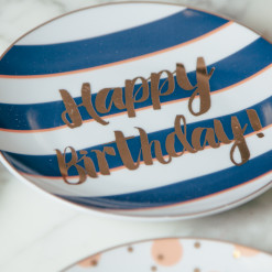 Let's Party Happy Birthday Plate Set of 4 Gold Stripe Plates Relish Decor
