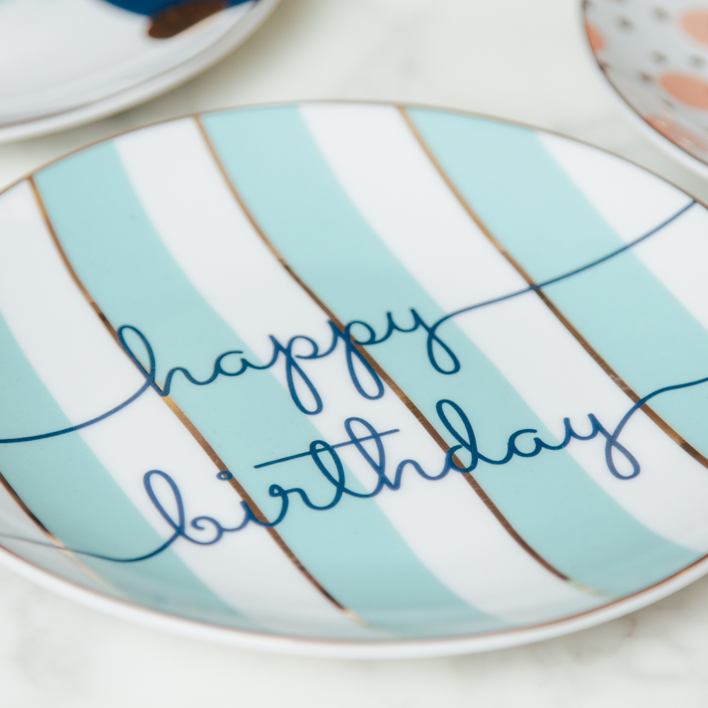 Letu0027s Party Happy Birthday Plate Set of 4 Stripe Plates Relish Decor  sc 1 st  Relish Decor & Letu0027s Party Happy Birthday Plate Set - Relish Decor
