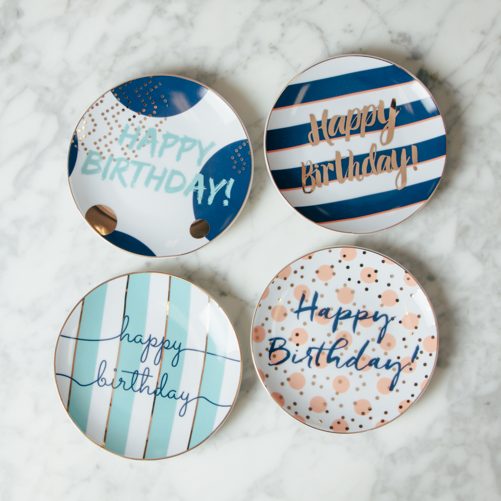 Let's Party Happy Birthday Plate Set of 4 Stripe Polka Dot Plates Relish Decor