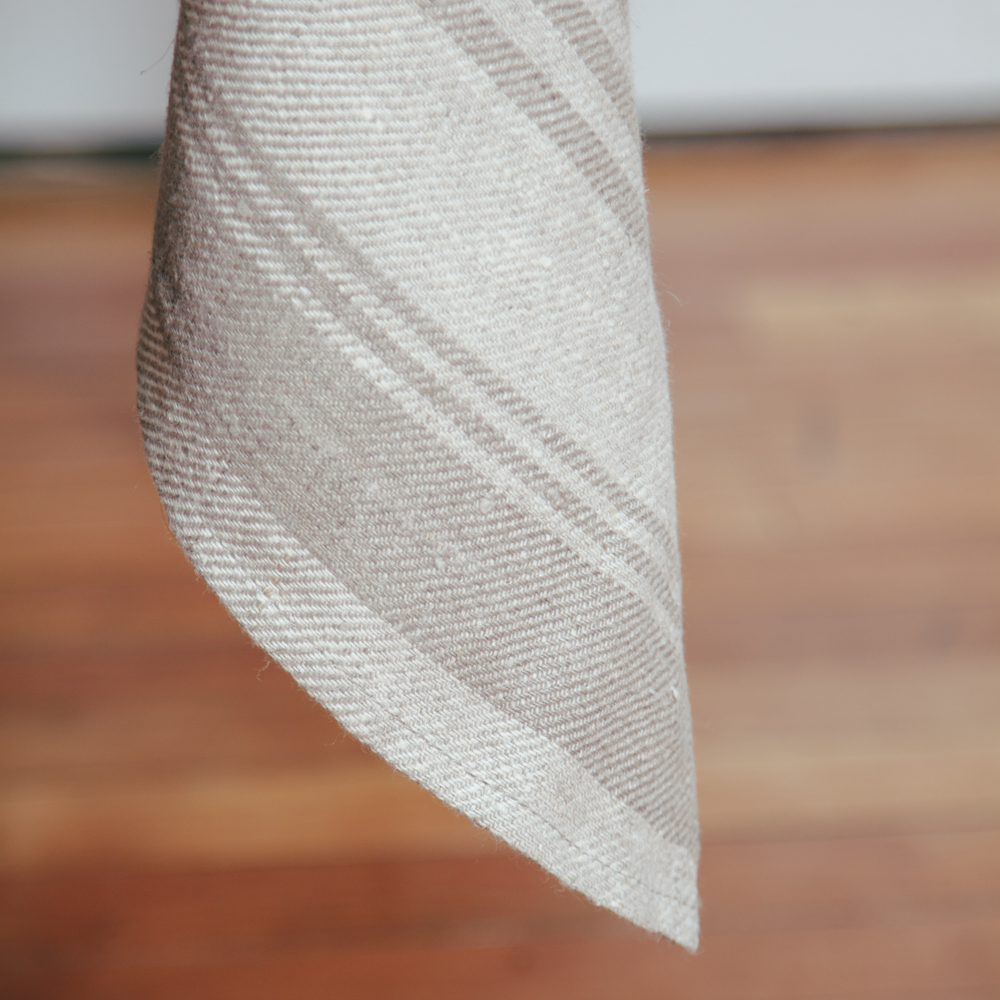 Linum Linen Tablecloth Natural Linen White Stripe Relish Decor