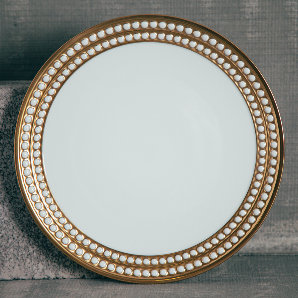Lobjet Perlee Gold Fine China Dinner Plate Relish Decor