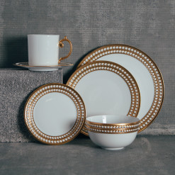 Lobjet Perlee Gold Fine China Dinnerware Collection Relish Decor