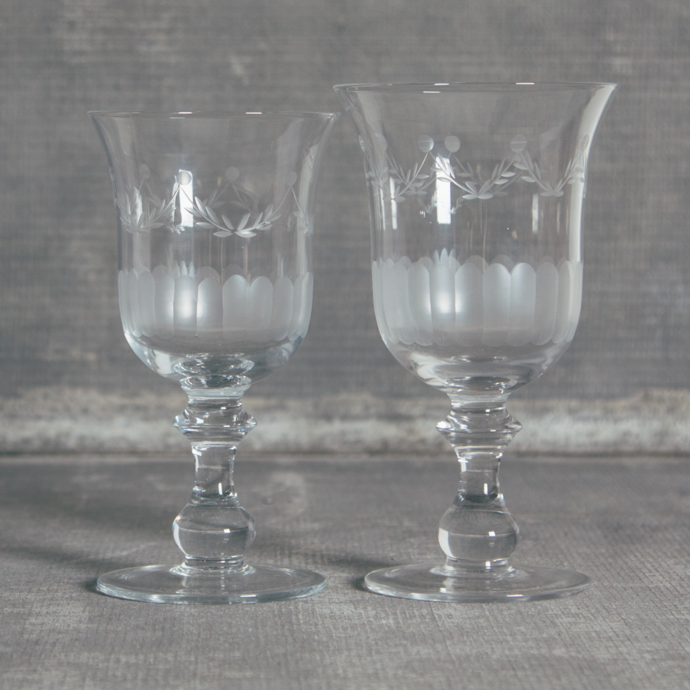 Lydia Garland Glassware Collection WIne Glass and Water Goblet Relish Decor