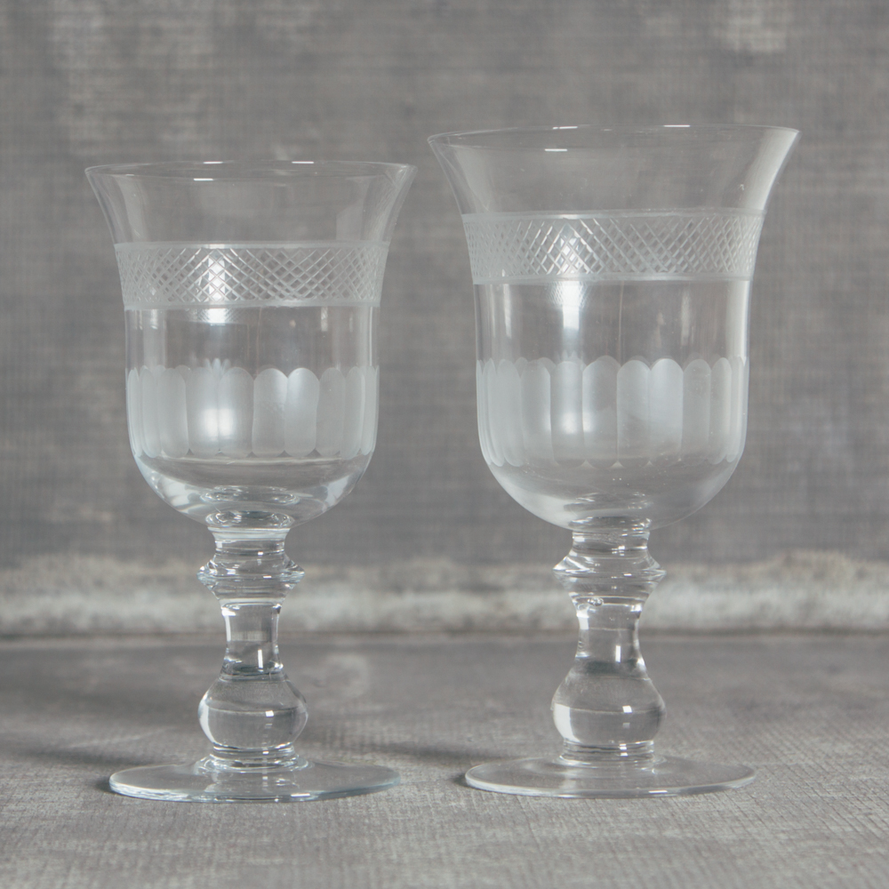 Lydia Lattice Glassware Wine and Water Goblet Relish Decor