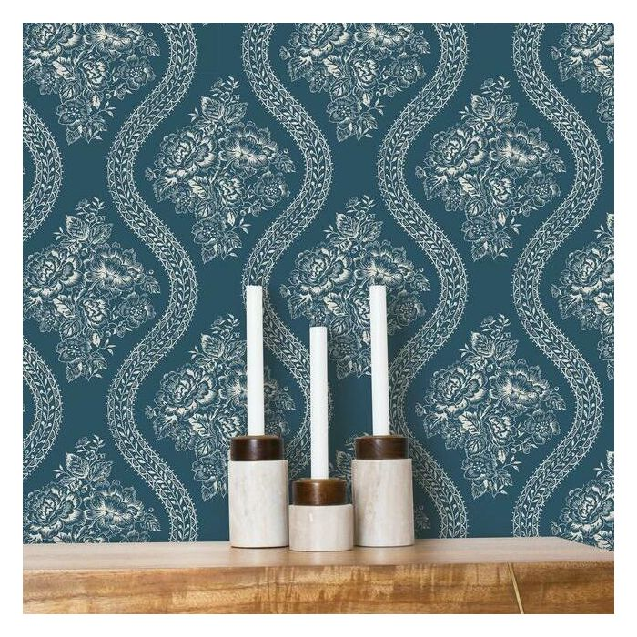 Magnolia Home Coverlet Floral Taupe On Navy Peel Stick Wallpaper Relish Decor