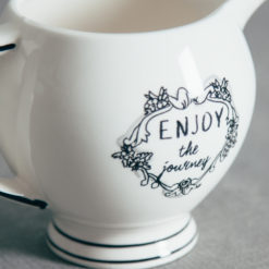 Mandy Black and White Enjoy The Journey Handlettered Text Creamer Relish Decor