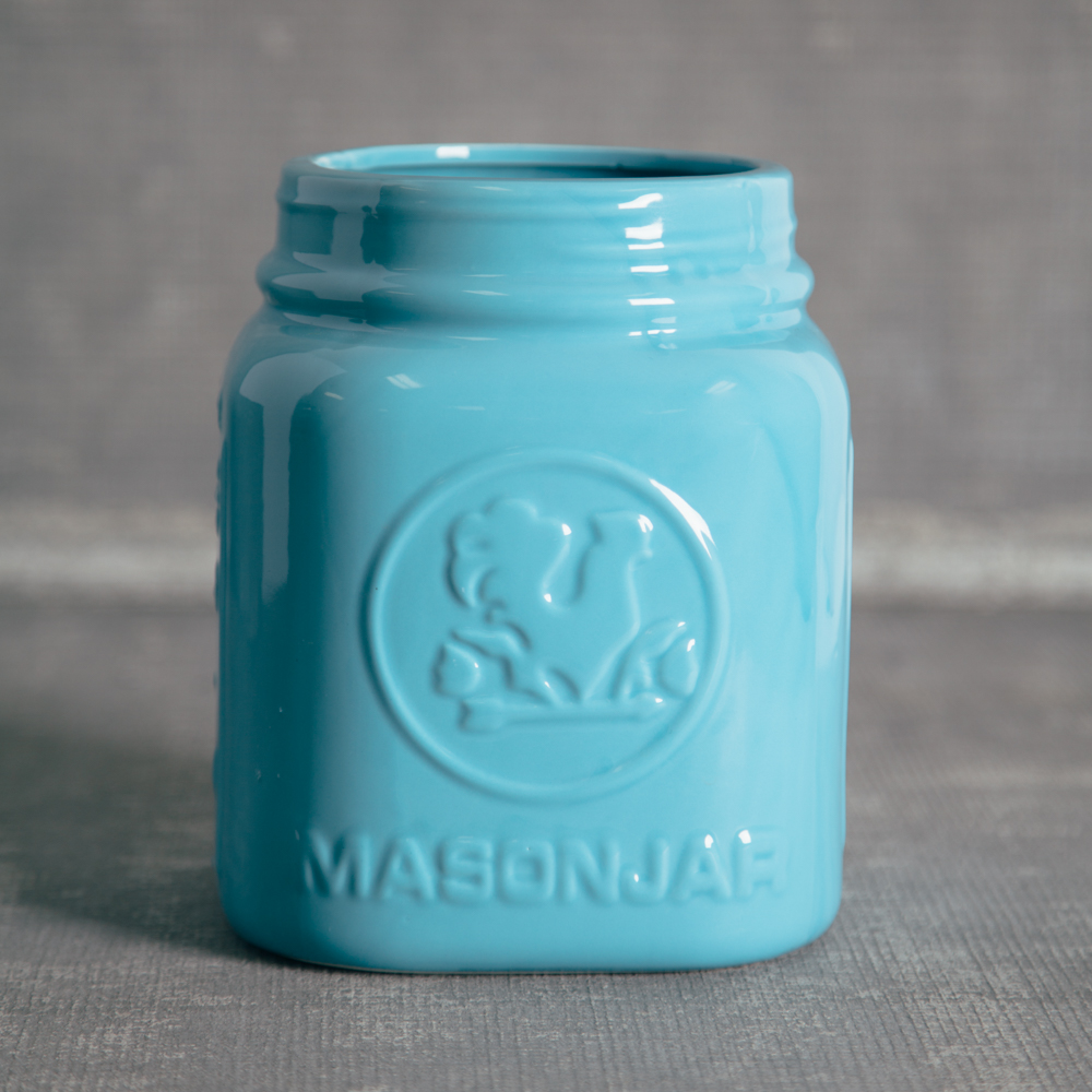 Light Blue Mason Jar Kitchen Counter Containers