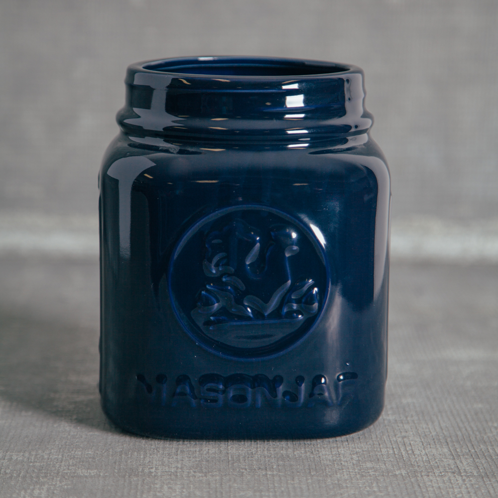 Mason Jar Canister Navy Utensil Holders Relish Decor