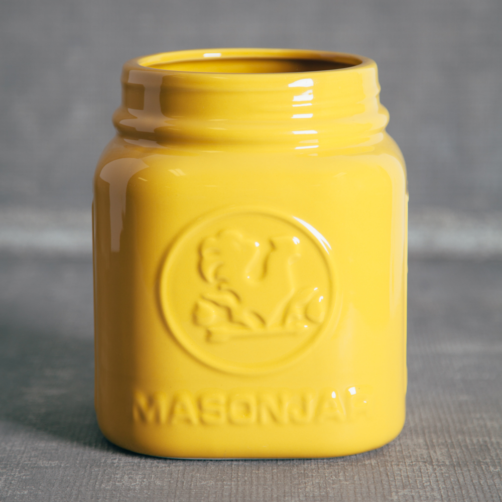 Perfect Mason Jar Canister Yellow Utensil Holders Relish Decor