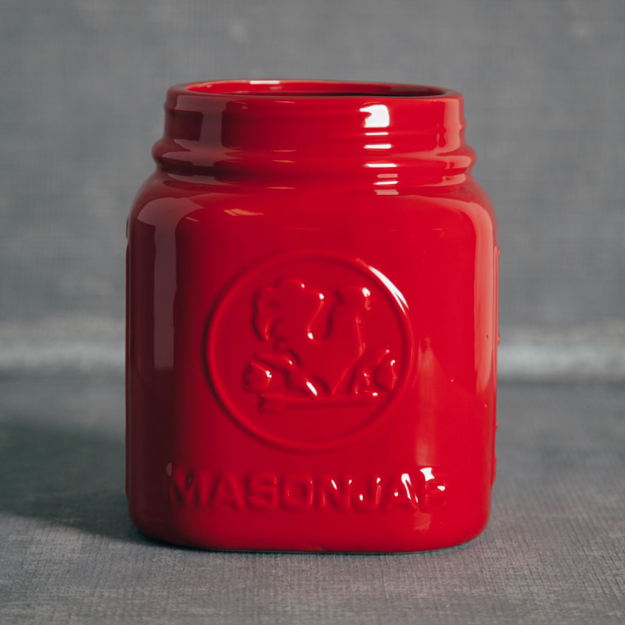 Mason Jar Red Canister Utensil Holders Relish Decor