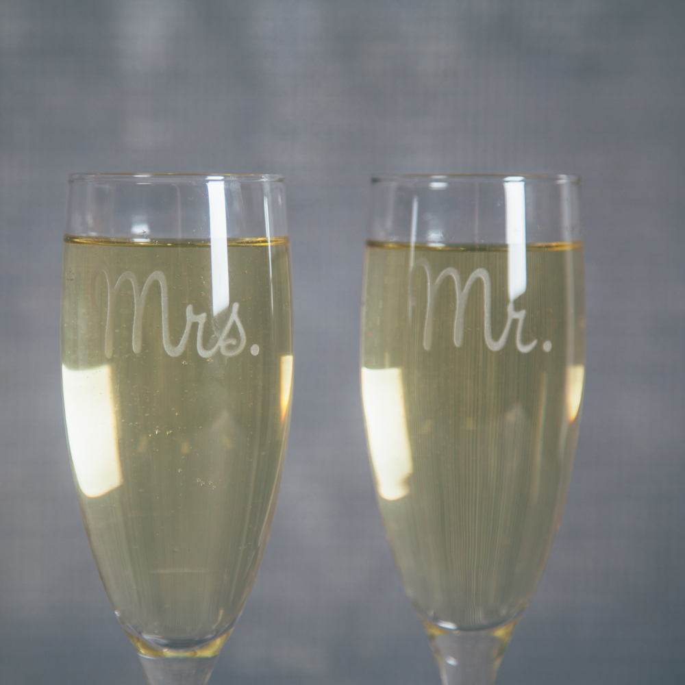 Mr Mrs Champagne Flutes Relish Decor