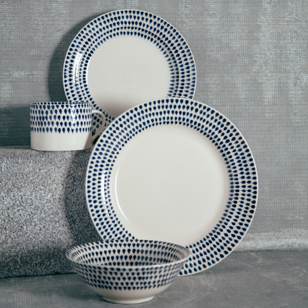 Nkuku Indigo Drops Dinnerware Collection Relish Decor