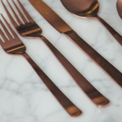 Oslo Flatware Collection Brushed Copper Finish Fork Knife Spoon Set Relish Decor