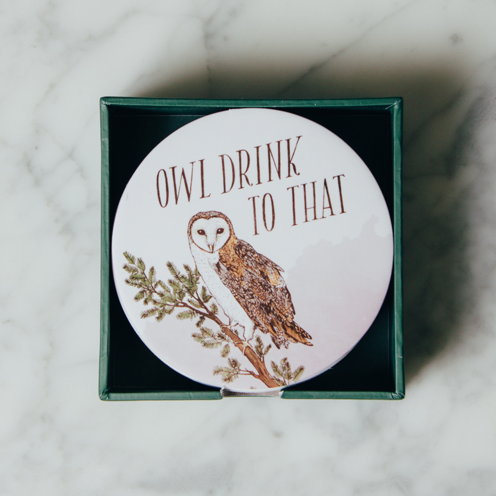 Owl Drink to That Coasters Illustrated Coaster Set Relish Decor