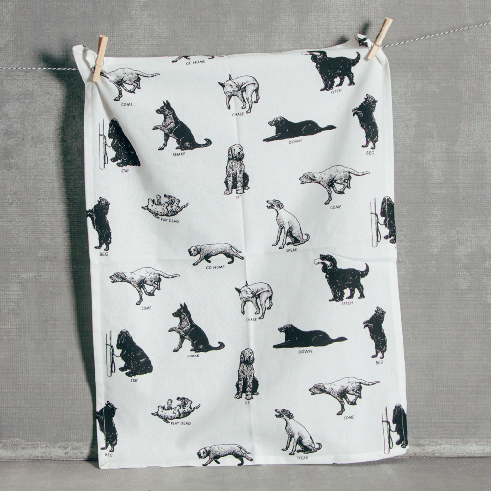Paws Dogs Tea Towel Fishs Eddy Dog Black and White Relish Decor