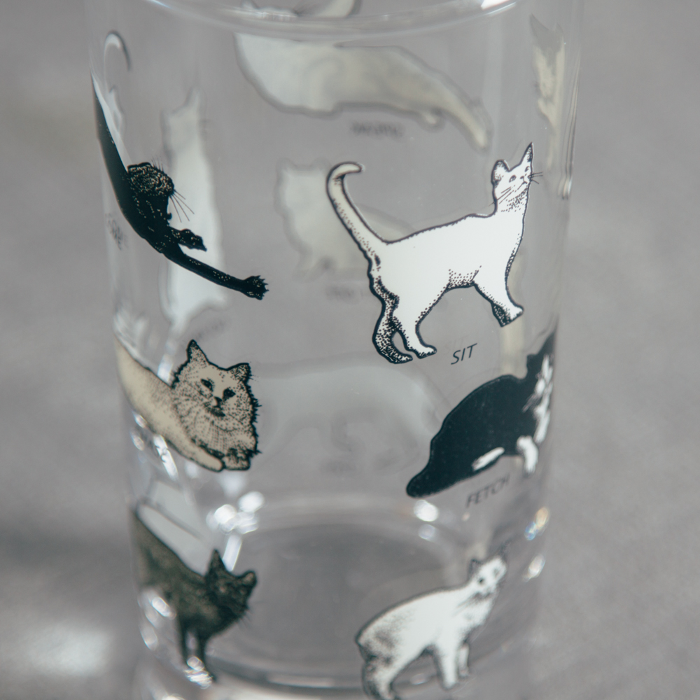 Paws Glass Black and White Cats Relish Decor