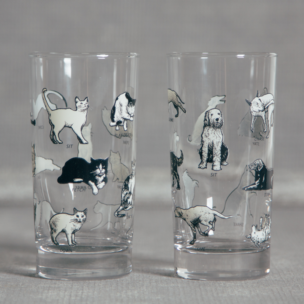 Paws Glass Black and White Cats and Dogs Relish Decor