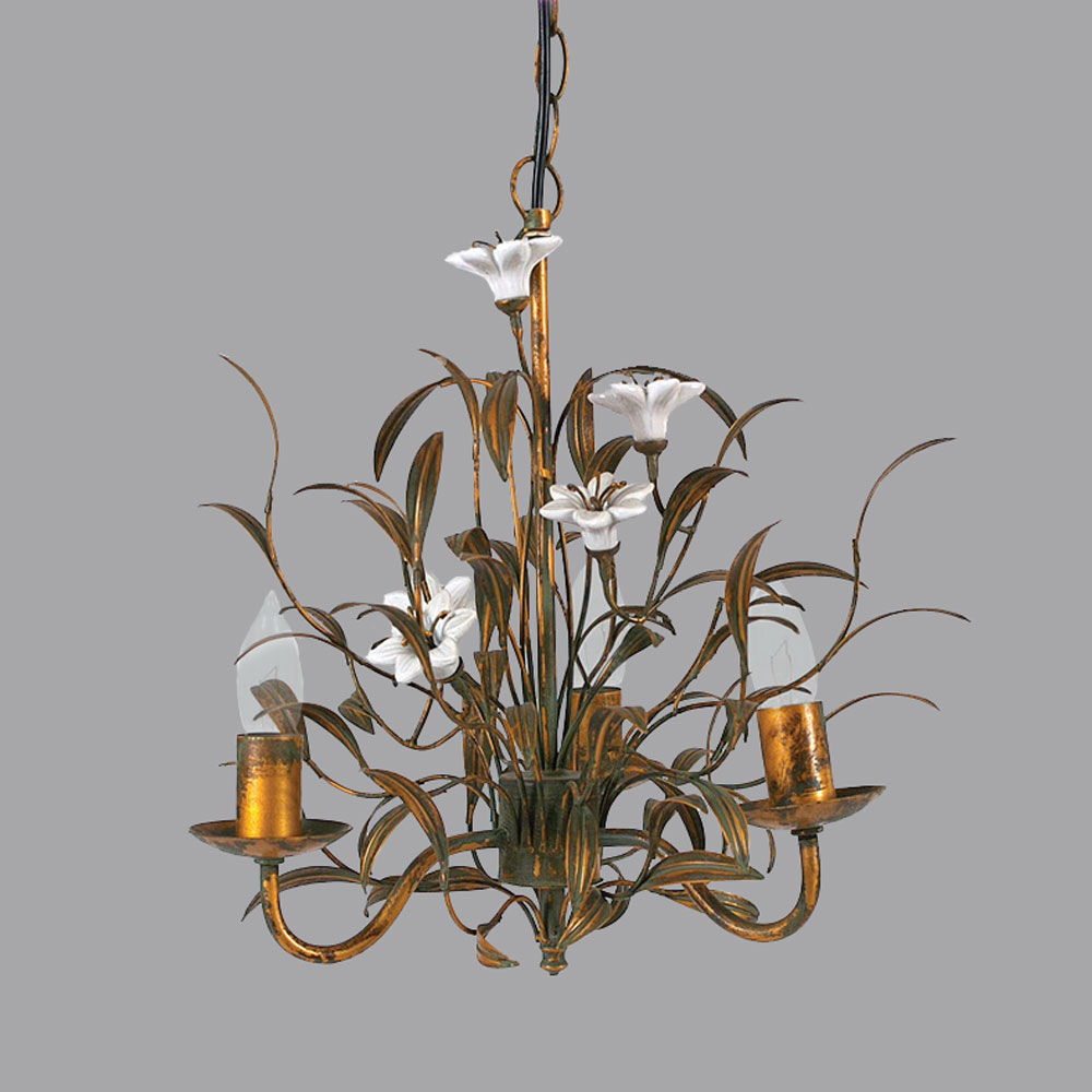 Porcelain Flowers Metal Small Chandelier Relish Decor