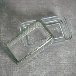 Pressed Glass Butter Dish Clear Relish Decor