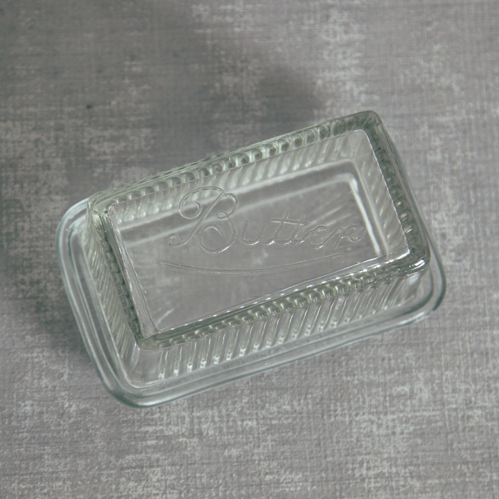 Pressed Glass Butter Dish Relish Decor