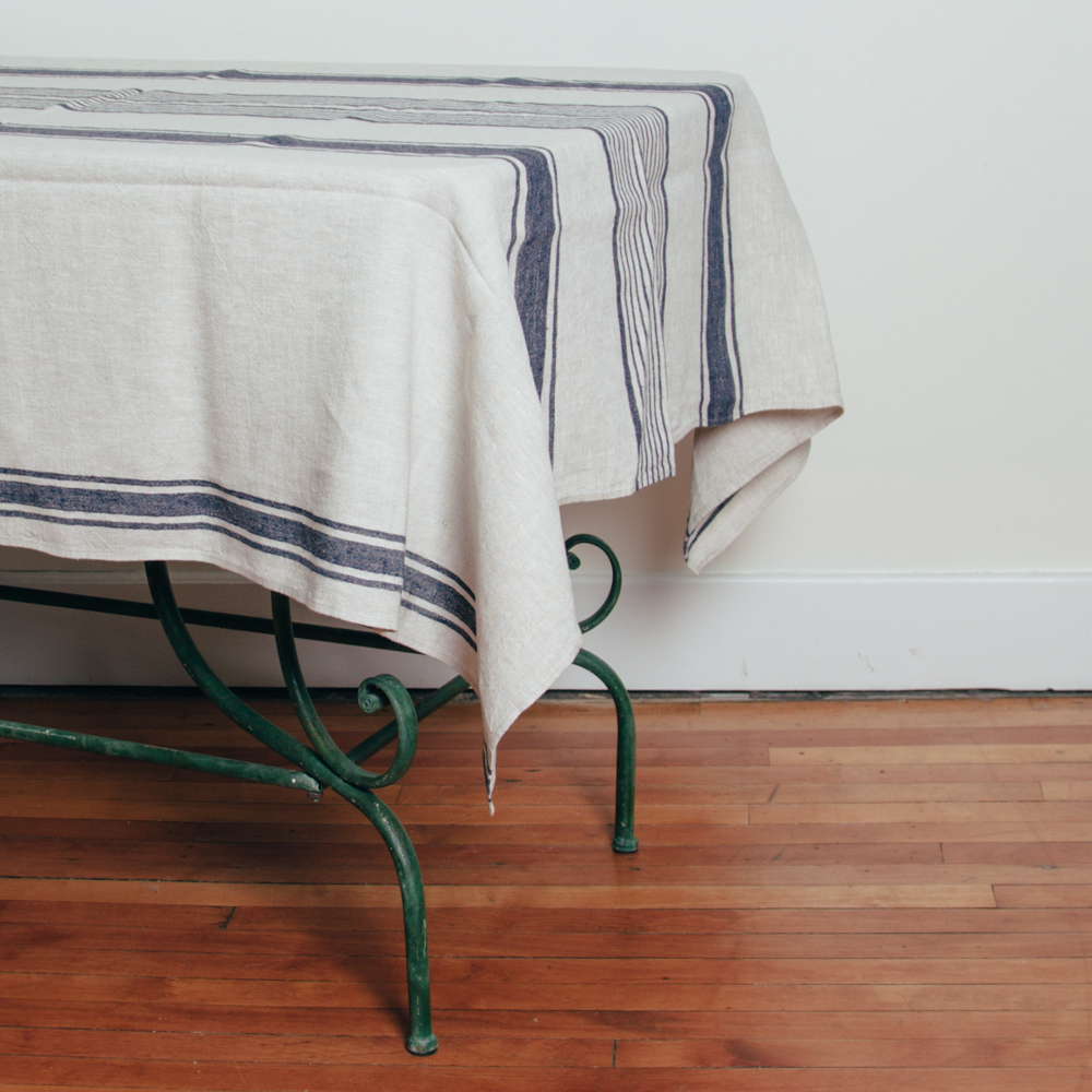 Provence Linen Indigo Navy Blue Stripe Tablecloth Relish Decor