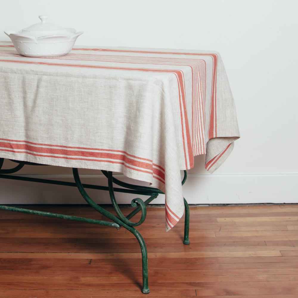 Provence Stripe Linen Farmhouse Red Tablecloth Relish Decor