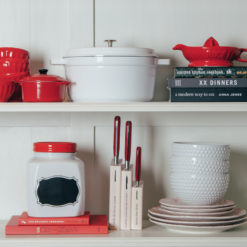 Red and White Kitchen Display Shelf Relish Decor
