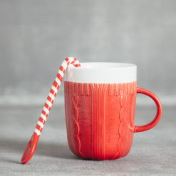 Relish Decor Christmas Holiday Sweater mug candy cane spoon