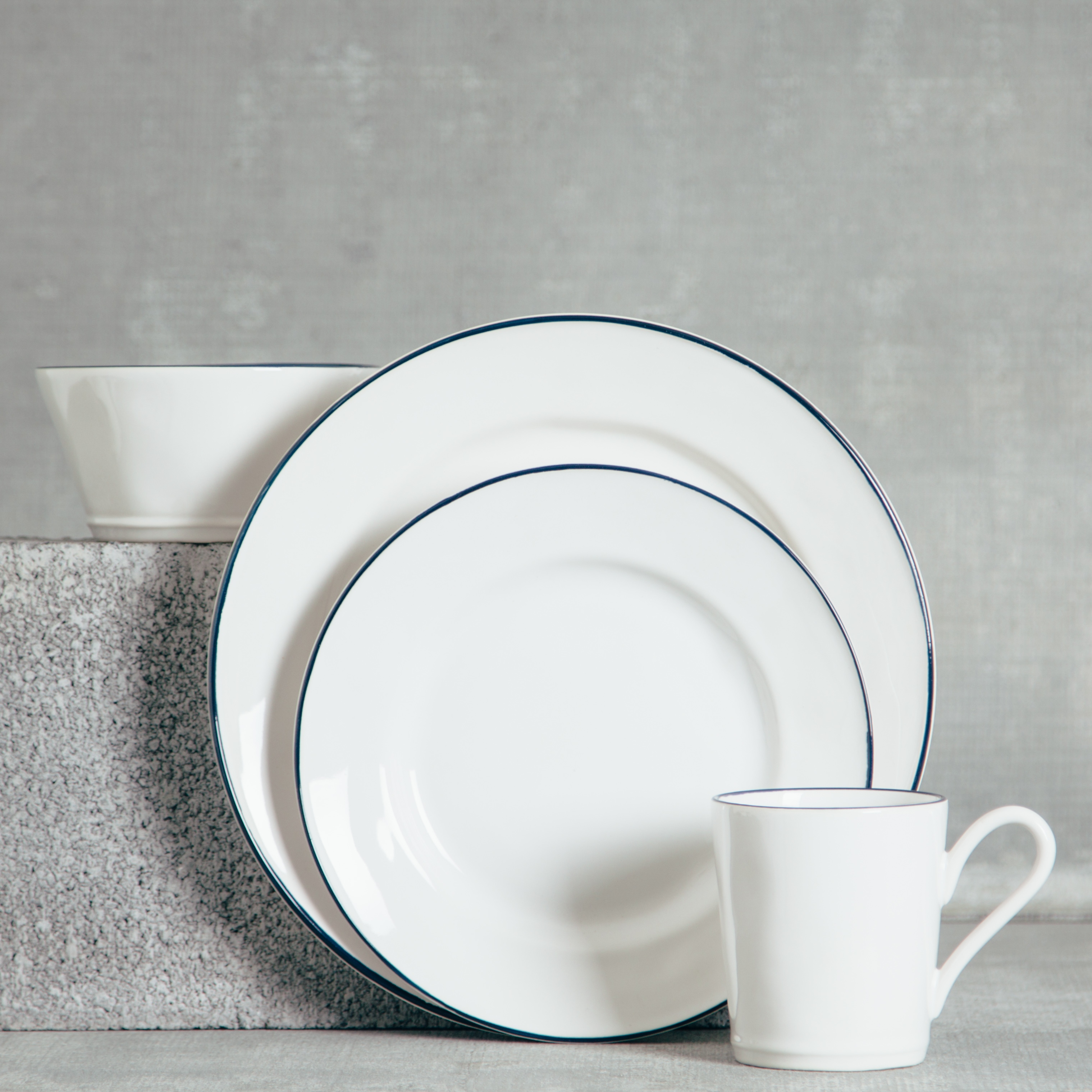 Relish Decor Costa Nova Dinnerware Beja Blue Place Setting & Beja White Dinnerware Sets - Relish Decor
