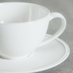 Relish Decor Costa Nova Friso Dinnerware White Teacup and saucer