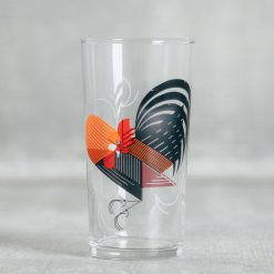 Relish Decor Fishs Eddy Todd Oldham Charley harper red birds juice glass crawling tale rooster