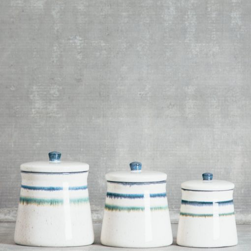 Relish Decor casafina sausalito white lidded jar canister set