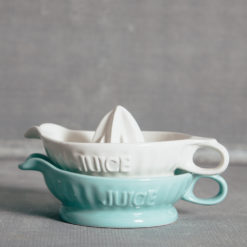 Retro Juicer Blue White Ceramic Relish Decor