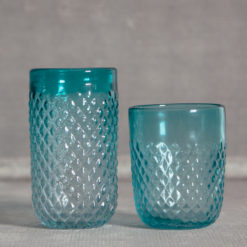 Ripple Glassware Cobalt Aqua Glasses Tumbler and Double Old Fashioned Relish Decor