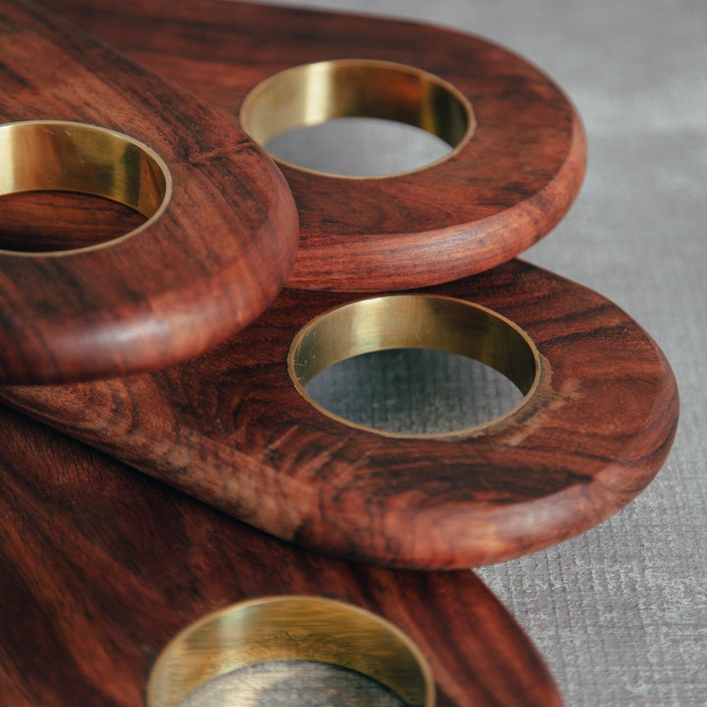 Rondo Brass and Rosewood Serving Boards Relish Decor