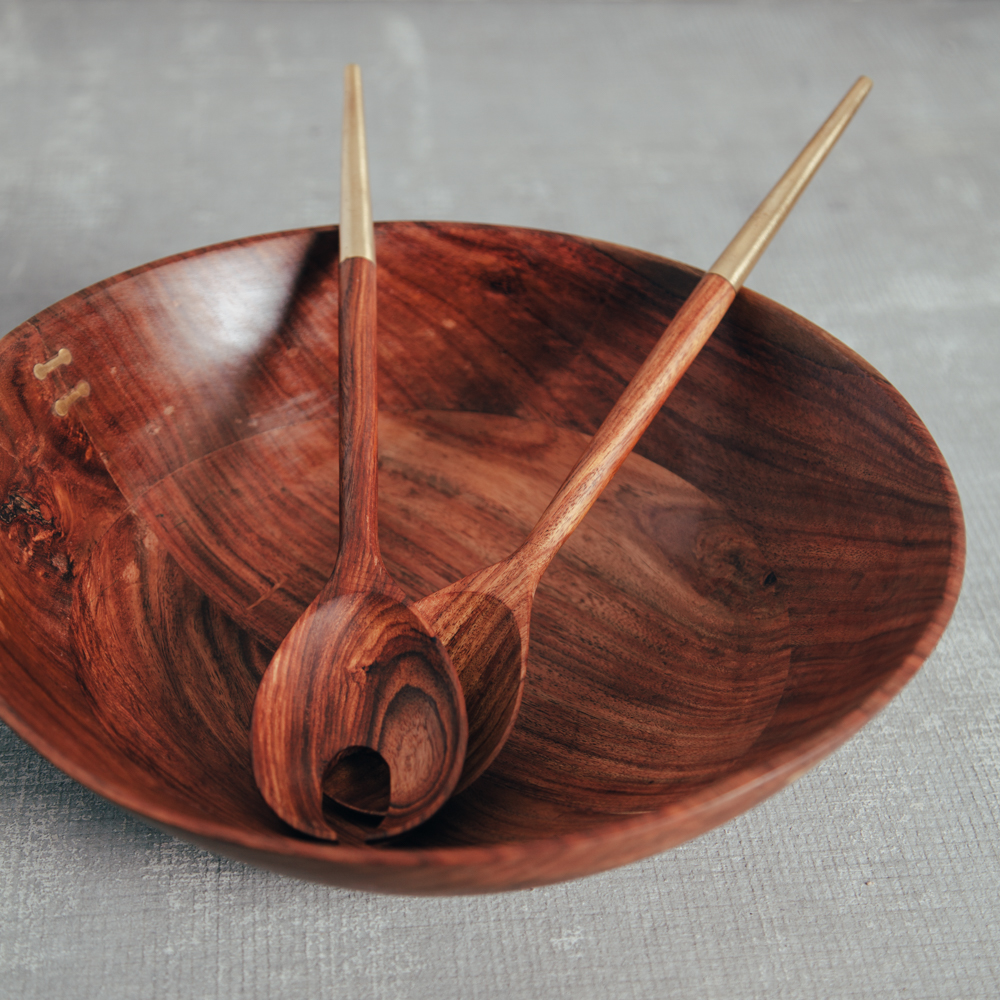 Rosewood Brass Inlay Bowl with Tipped Salad Servers Relish Decor