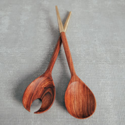 Rosewood and Brass Salad Servers Relish Decor