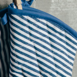 Royal Blue Striped Pot Holder and Oven Mitt Set Relish Decor
